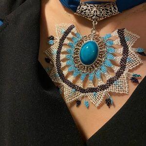 Blue Silk Hand Made Necklace, Neck accessory